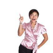 Young Asian businesswoman pointing up when an idea struck. — Stock Photo