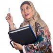 Stock Photo: Beautiful mature Muslim woman in thinking pose with files and books in hand