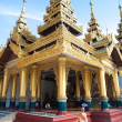 Stock Photo: Beautiful gold temple pavilion encircling main pagodof Shwedagon