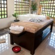Beautiful spa therapy room with wooden windows in Bali — Stock Photo