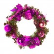 Purple christmas garland with baubles and ribbons on white. — Stock Photo