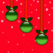 Christmas background with baubles hanging on red ribbons — Stock fotografie