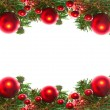 Border of red christmas garland with baubles and ribbons on white. — Stock fotografie