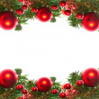Border of red christmas garland with baubles and ribbons on white. — 图库照片