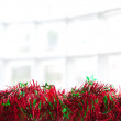 String of green and red christmas tinsel by a glass window - Stock Photo