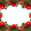 Border of red christmas garland with baubles and ribbons on white. — Foto de Stock