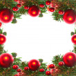 Border of red christmas garland with baubles and ribbons on white. — ストック写真