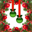 Border of red christmas garland with baubles and ribbons on white. — Stock Photo #19826191