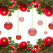 Border of red christmas garland with baubles and ribbons on white. — Stock Photo #19826195