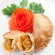 Delicioius Asian curry puff with potato filling - Stock Photo
