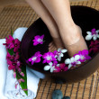 Feminine feet in foot spa bowl with orchids — Stockfoto