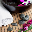Spa therapy with orchids and hot stones — Stock Photo