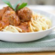 Delicious meatball with spaghetti in tomato sauce — Stock Photo #19827833