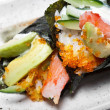 Royalty-Free Stock Photo: Closeup of Japanese surimi crab stick and avocado  temaki