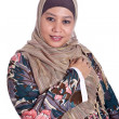 Confident Muslim woman in scarf, isolated - Stock Photo