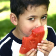 Young boy enjoying a red juicy watermelon — Stock Photo
