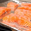 Raw fresh salmon fillet on foil ready to be baked - Stock Photo