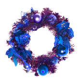 Blue christmas garland with baubles and ribbons on white. — Stock Photo