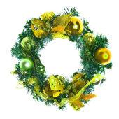 つまらないと白のリボンと黄色のクリスマスの花輪. — ストック写真