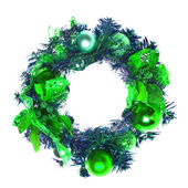 Green christmas garland with baubles and ribbons on white. — Stock Photo