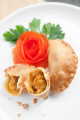 Delicioius Asian curry puff with potato filling — 图库照片