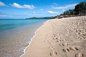 Long sandy tropical beach. — Stock Photo