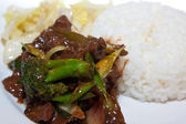 Mongolian beef with plain rice — Stock Photo