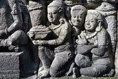 Relieve tallado en piedra de la antigua cosmología budista en el templo de borobudur — Foto de Stock