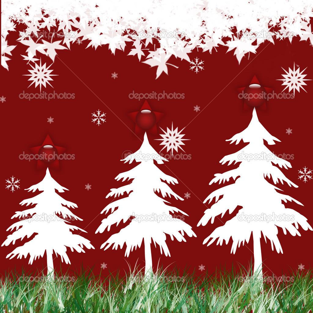 与松树和雪花圣诞背景的图 — 照片作者 mayangsari