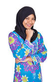 Beautiful young Muslim Malay woman in blue dress — Stock Photo