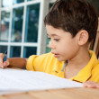 Beautiful young boy doing his homework at home — Stock Photo