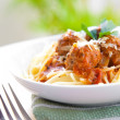 Meatball spaghetti served outdoor — Stock Photo