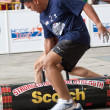 TOA PAYOH, SINGAPORE - MARCH 24 : Contenders for the under 20s in the 120kg log walk category in the Strongman Challenge 2012 on March 24, in Toa Payoh Hub, Singapore. — Stock Photo
