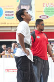 TOA PAYOH, SINGAPORE - MARCH 24 : Contender for Strongman Mohd Asri Abd Kadir taking a breather at the 2 times 120 log walk in the Strongman Challenge 2012 on March 24, in Toa Payoh Hub, Singapore. — Stock Photo