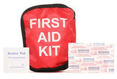 First aid kit with plasters — Stock Photo