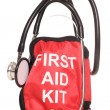 Stock Photo: First aid kit and stethoscope