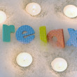 Stock Photo: Relax with candles bath time