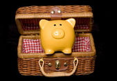 Yellow piggy bank in a hamper — Stock Photo