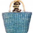 Wicker shopping bag with pound sign — Stock Photo