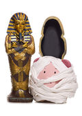 Egyptian mummy piggy bank cut out — Stock Photo