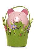 Frühling sparen sparschwein ausgeschnitten — Stockfoto
