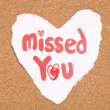 Missed you love note — Foto Stock