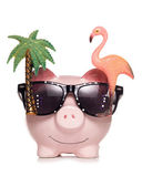 Saving for retirement piggy bank cut out — Zdjęcie stockowe