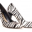 Zebra pattern high heel shoes cut out — Stock Photo