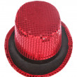 Red sequin stage show top hat — Stock Photo