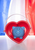 Love saving on a french flag — Stock Photo