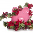 Stock Photo: Cost of christmas piggy bank