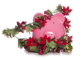 Cost of christmas piggy bank — ストック写真