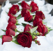 Red wedding roses — Stock Photo