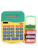 школа маркировка марок и калькулятор — Стоковое фото